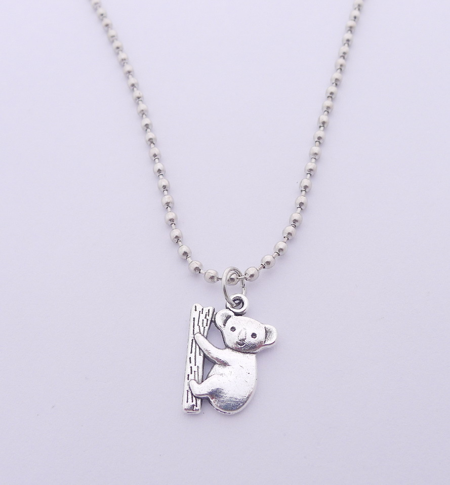 6pcs necklace <font><b>koala</b></font> <font><b>bear</b></font> Pendants 20*14mm European American <font><b>Jewelry</b></font> Choker Charm 60cm Antique Silver Factory Handmade <font><b>jewelry</b></font> image
