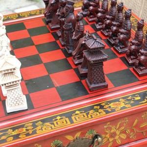 Image 3 - 新しい木製チェス中国のレトロな兵馬チェス木製古い彫刻樹脂駒特大チェスピースプレミアムyernea