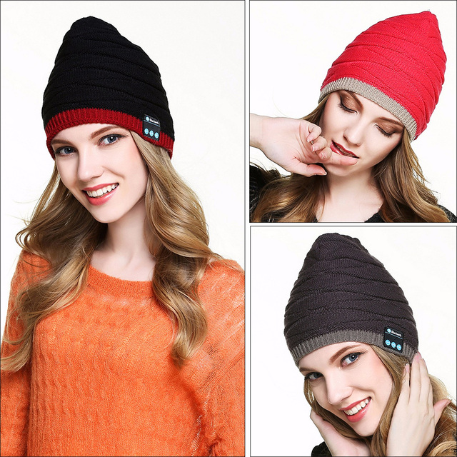 VBIGER Women Wireless Bluetooth Knitted Beanies Skullies Headset Hat Music Knitted Cap Bluetooth Smart Caps with Stripe Design
