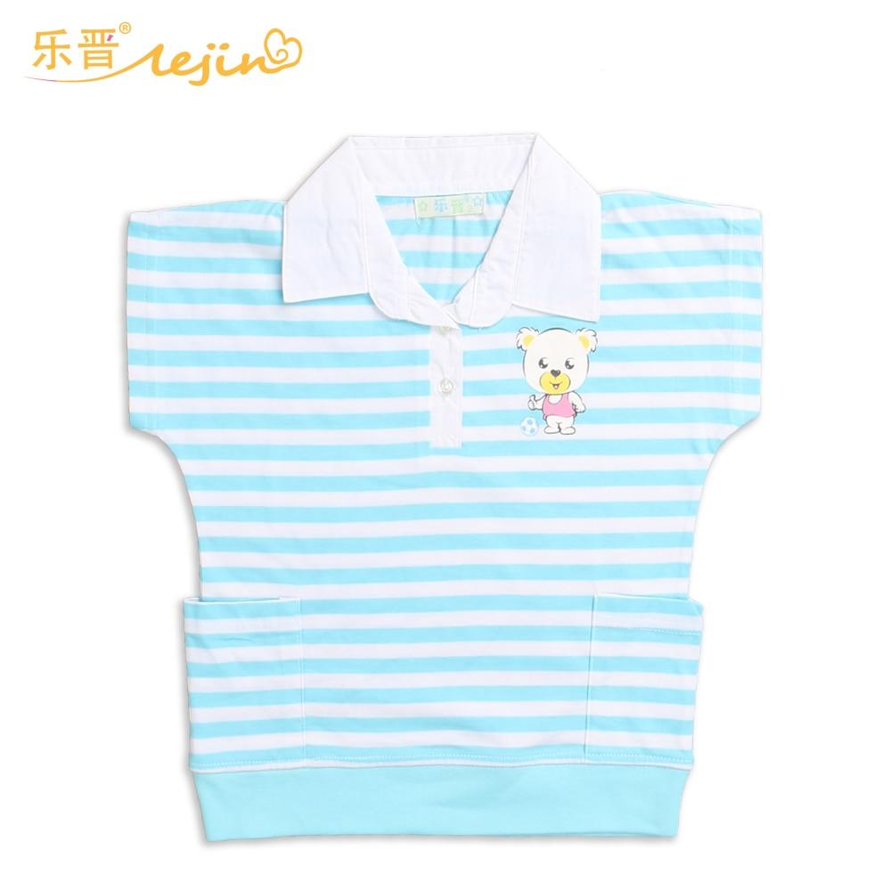 LeJin Children Clothing Girls Shirt Blouse Summer Wear Casual Tops Short Sleeve Printed 100% Cotton