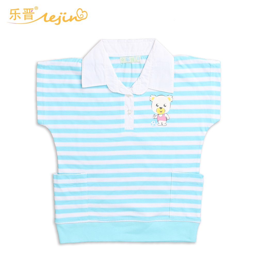 LeJin Children Clothing Girls Shirt Blouse Summer Wear Casual Tops Short Sleeve Printed 100% Cotton
