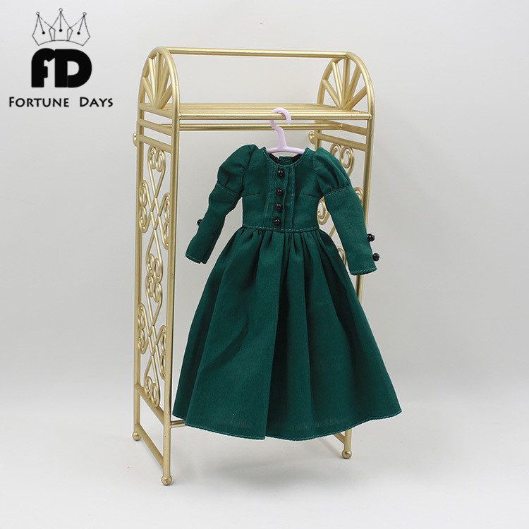 Retro dark green red dress long section bottoming skirt Suitable for Doll BJD DIY