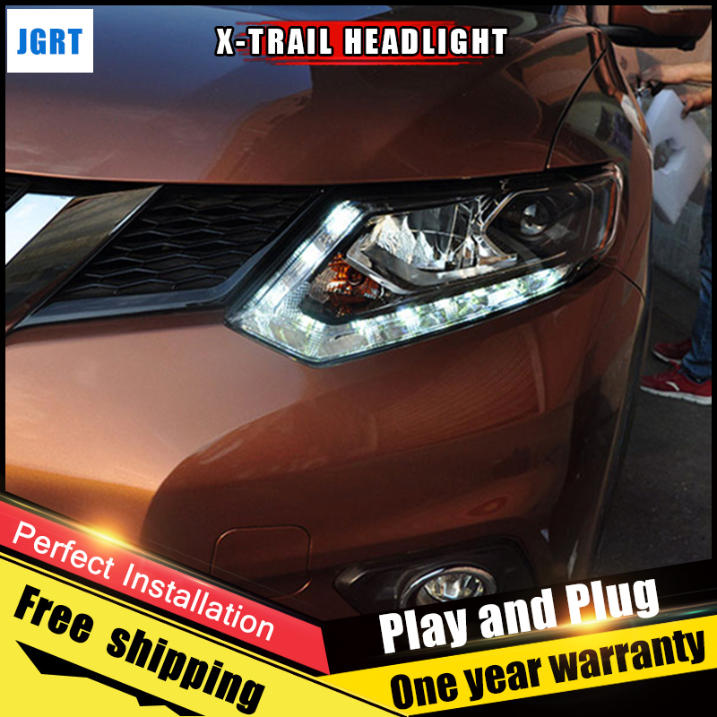 2PCS Car Style LED headlights for Nissan X-Trail 2017 for X-Trail head lamp LED DRL Lens Double Beam H7 HID Xenon bi xenon lens стоимость