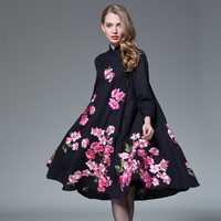 Chinese Style High End 2016 Women Autumn Winter Black Flower Embroidery Long Casual Loose Cheongsam Linen