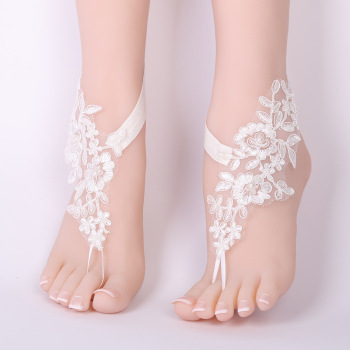 CHICVIE Bridal Summer Crochet Barefoot Sandals Lace Anklets Wedding Prom Party Ankle-Length Women Bare Feet Sandals SAN190061 2