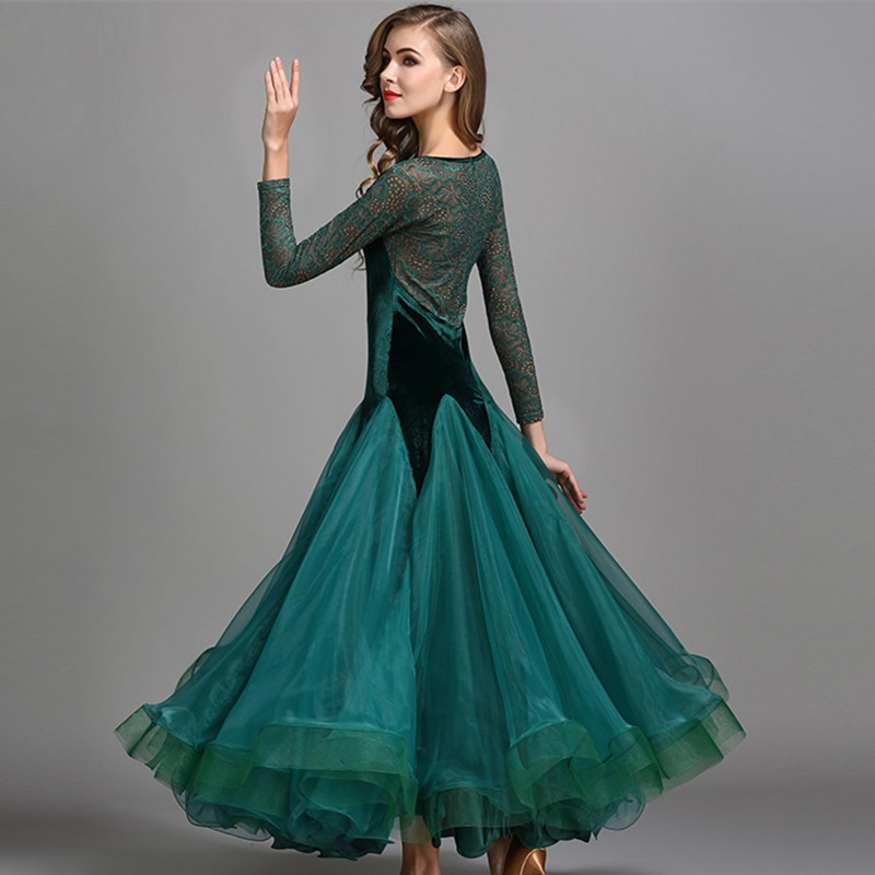 Picture of 5 Colors Green Waltz Dress Rumba Standard Smooth Dance Dresses Standard Social Dress Ballroom Dance Competition Dress Fringe