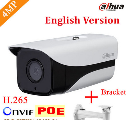 English Firmware Dahua IP Camera IPC-HFW4433M-I2 4MP Smart Detection ONVIF H.265 IR with POE cctv network bullet with bracket