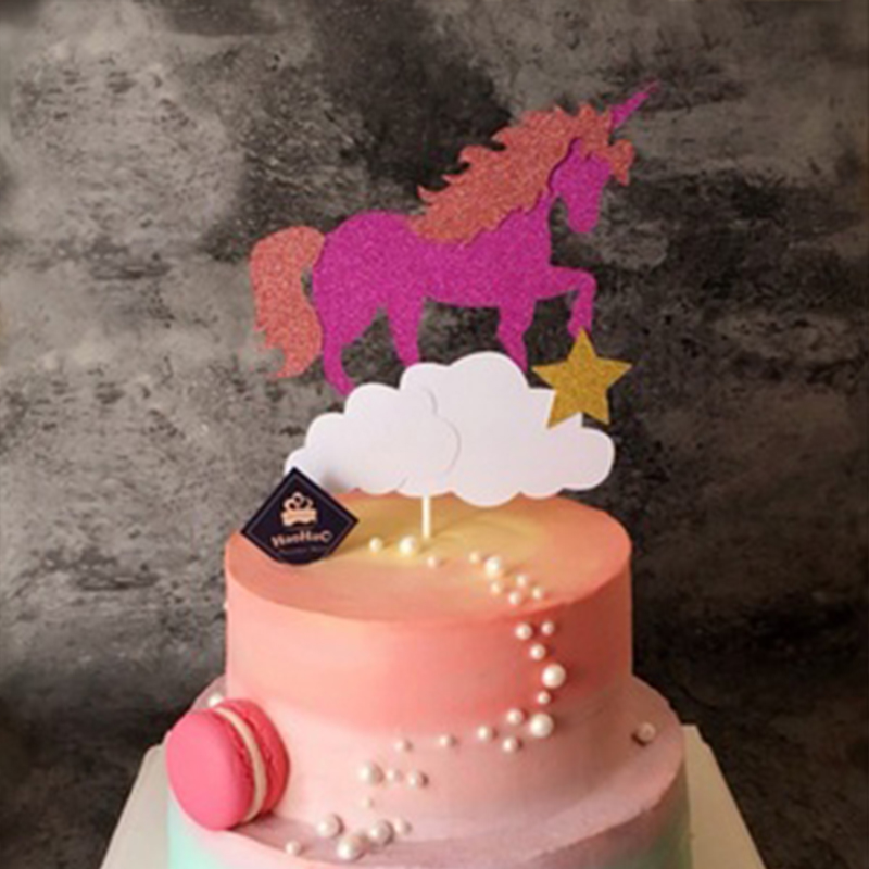 1pc Glossy Unicorn Cake Pink Topper Wedding Party Baby Shower