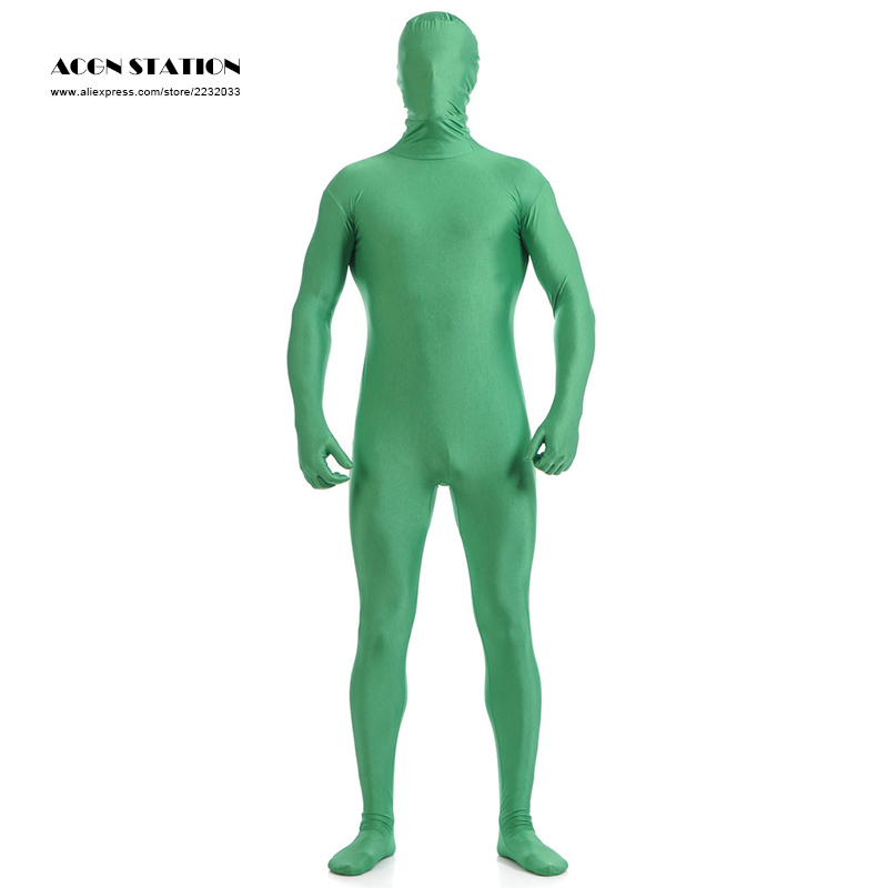 24h 2018 Green Lycra Spandex Zentai Suit for Men Halloween Jumpsuit Romper Rush order/Same day shipping/24-hour ship-out