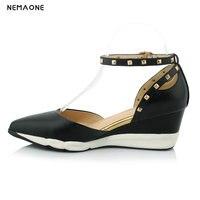 NEMAONE 2018 Yeni Varış moda takozlar Topuklu Sandalet Kadın Hakiki Deri Yaz Moda Ayak Bileği Kayışı Yüksek Topuk Sandalet