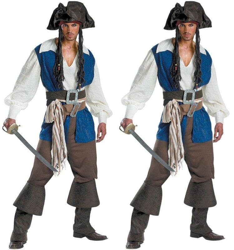 Livraison Gratuite! Hommes Ohé Moussaillon Haute Mer Pirate Adulte Pirate Capitaine Fantaisie Robe Jack Sparrow Cosplay tenue