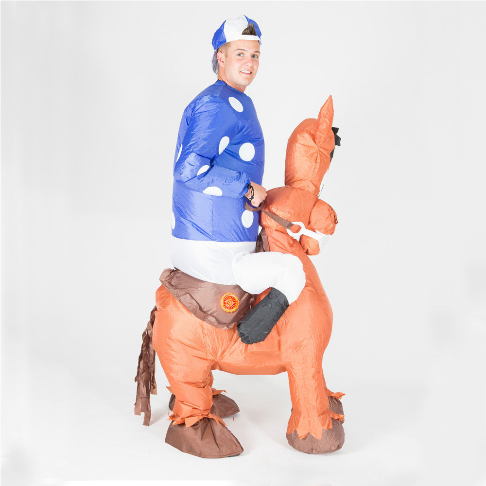Inflatable Horse Jockey Costume Blow Up Suit for Women Men Adult Ride on Horse Hen Stag Night Party Carnival Cosplay Fancy Dress in Movie TV costumes from Novelty Special Use