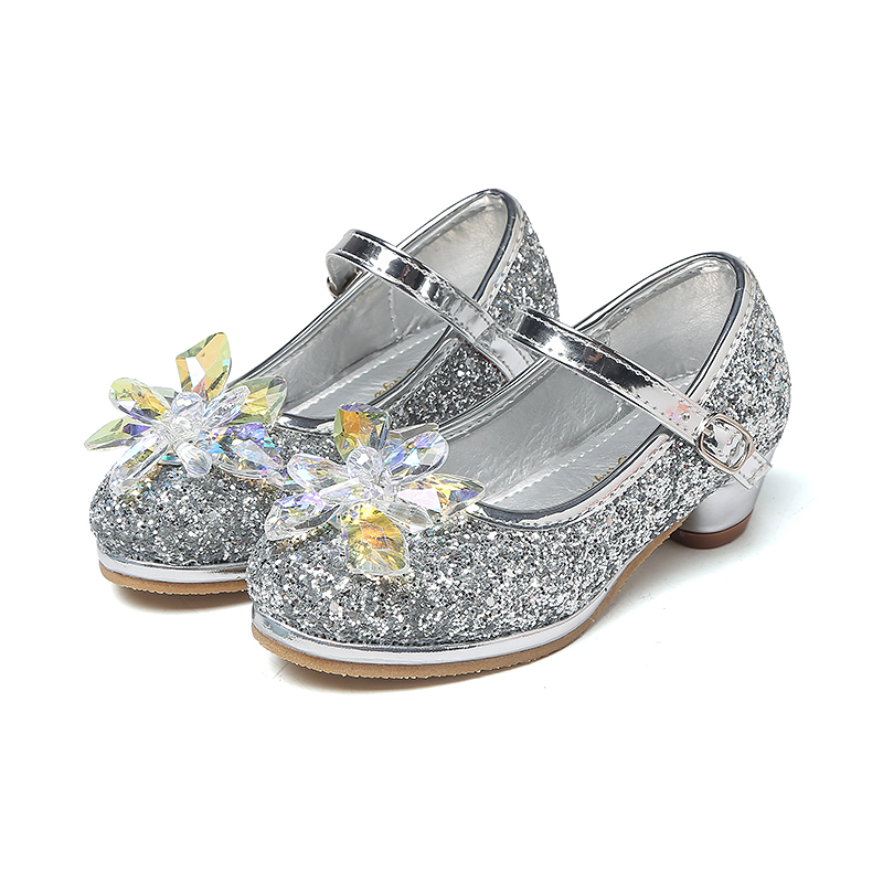 MSMAX Kids PU Glitter Wedding Shoes Crystal High Heels Girl s Princess  Performance Shoes Mary Jane Sequins Dance Sandals-in Leather Shoes from  Mother   Kids ... 13747343164f