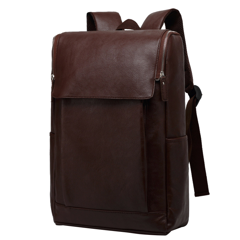 New Men's Backpack PU Leather 17 Inch Laptop School Bag Casual Buiness Backpacks Male Large Capacity Satchels