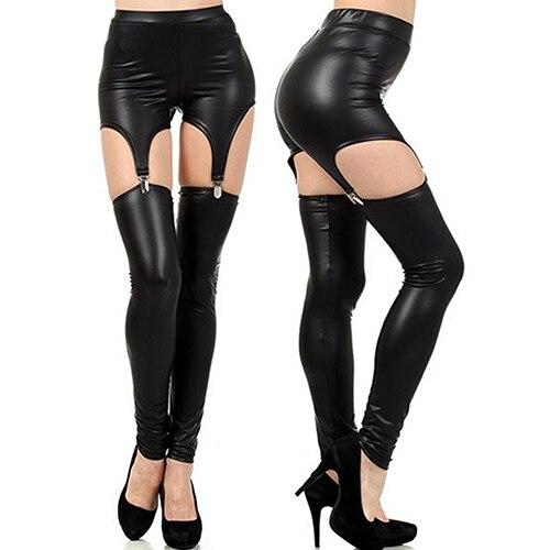 New Arrival Fashion Women Faux Leather Suspender Leggings Buckle Waist Garter Pants