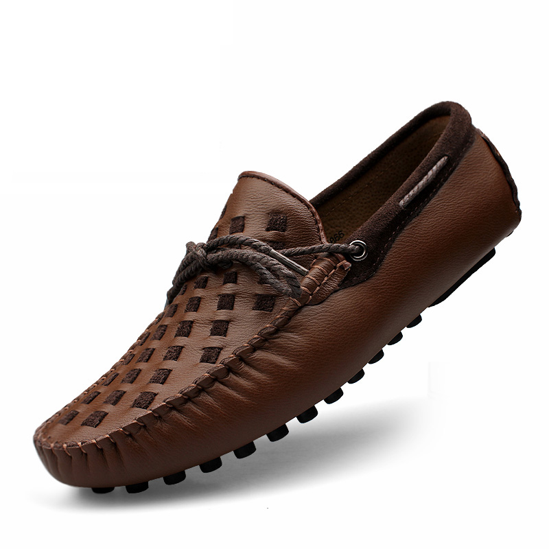 Leather Men Shoes Casual Flats Men Shoes Breathable Loafers Genuine Leather Slip Moccasins Comfortable Checkered Embossing 2019