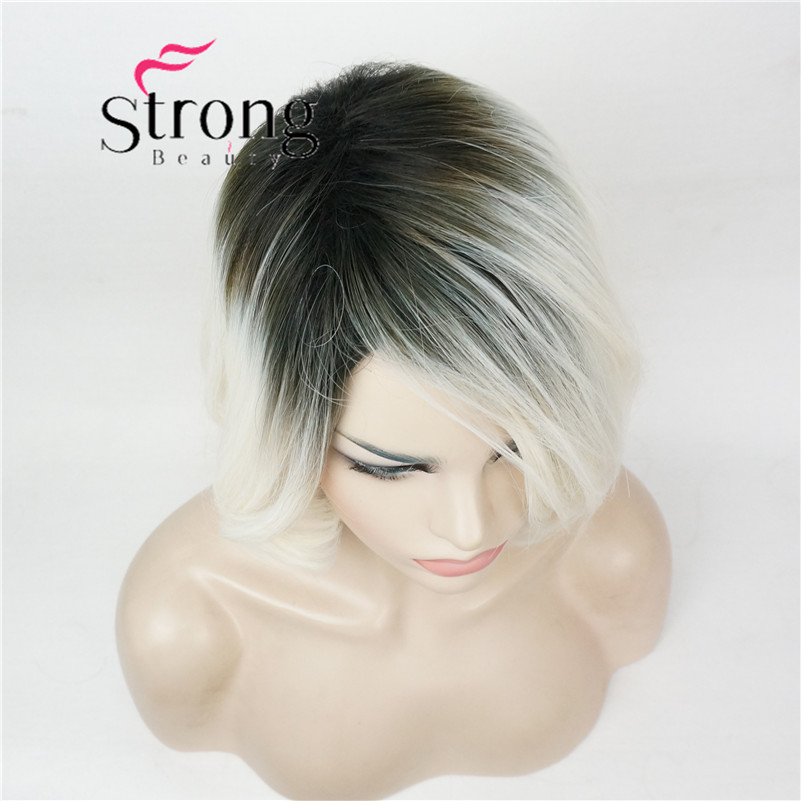 Short Straight Dark to Blonde Ombre Bob, Side Swept Bangs High Heat Resistant Full Synthetic Wig