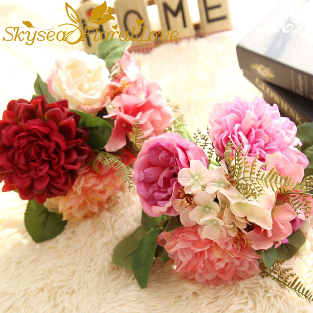 Rosa Rot Weiss Grun Farben Kunstseide Dahlia Pompon Rose Hydrangea