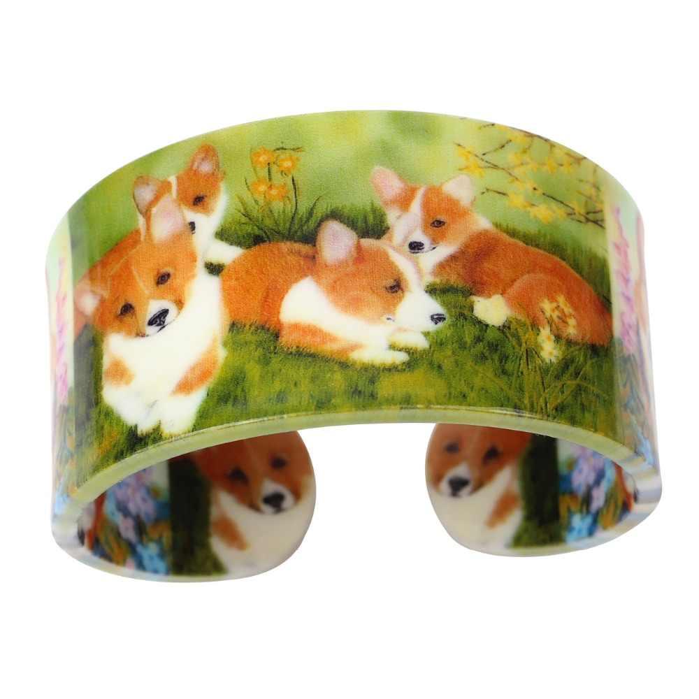 WEVENI Trọng Lượng Nhẹ Nhựa Rộng Tình Yêu Corgi Dog Bangles Vòng Đối Với Phụ Nữ Thời Trang Mới Animal Jewelry Cô Gái Gốc Phụ Kiện