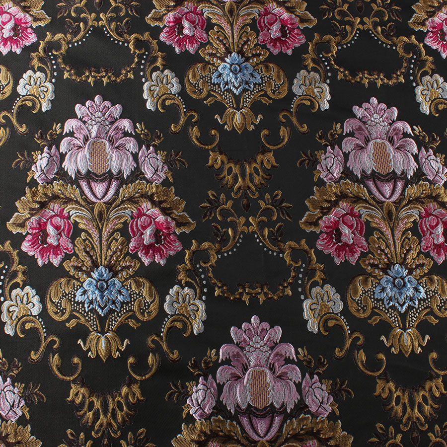"5 MTR BLACK//LILAC PURPLE FLORAL ORIENTAL BROCADE FABRIC...60/"" WIDE NEW"