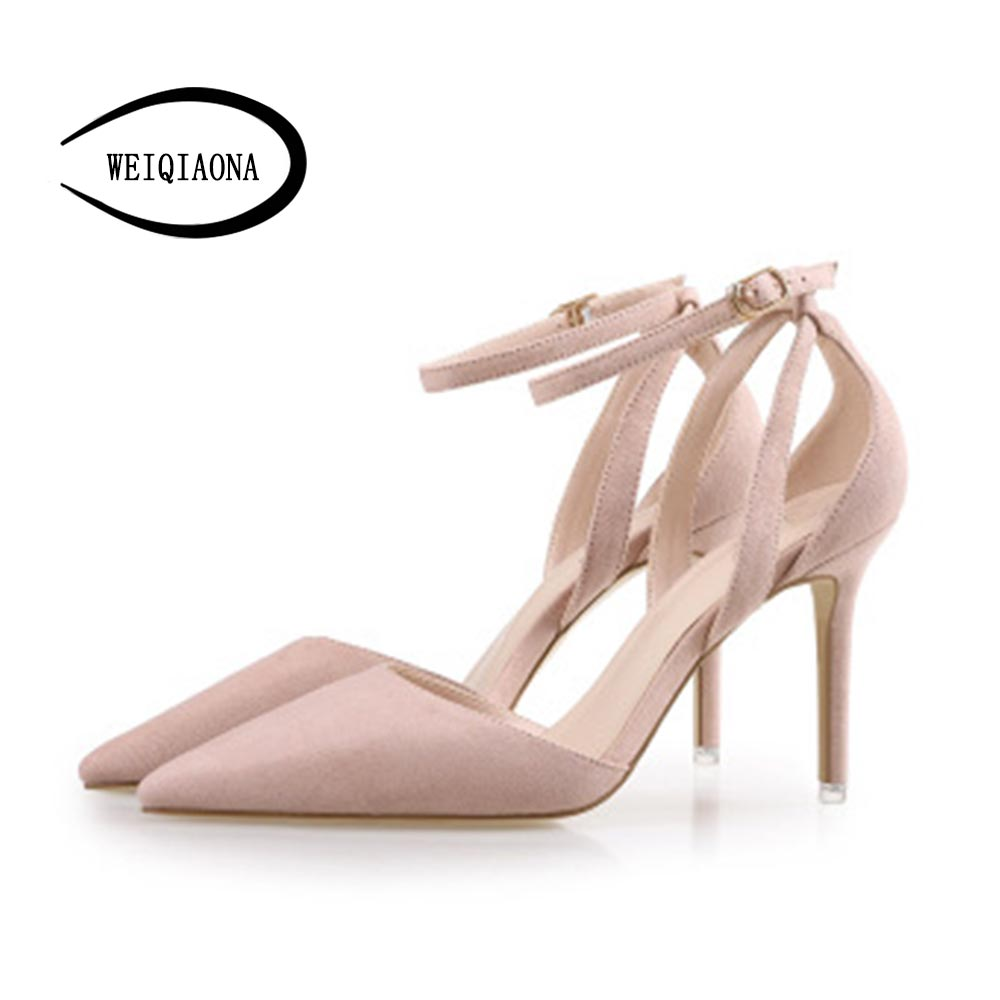WEIQIAONA Summer Women Shoes flock Pointed Toe ankle strap stilettos Pumps Dress Shoes High Heels Boat Shoes Wedding Shoes new 2017 spring summer women shoes pointed toe high quality brand fashion womens flats ladies plus size 41 sweet flock t179