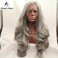 Mimihair  Synthetic Gray Wave Lace Front Wig Glueless silver Grey Heat Resistant Hair Gray Wigs