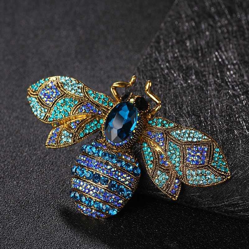 Donia Perhiasan Besar Lebah Rhinestone Bros Natal Perhiasan Wanita Jilbab Pin Bros dan Bijoux Wanita Bros Pin