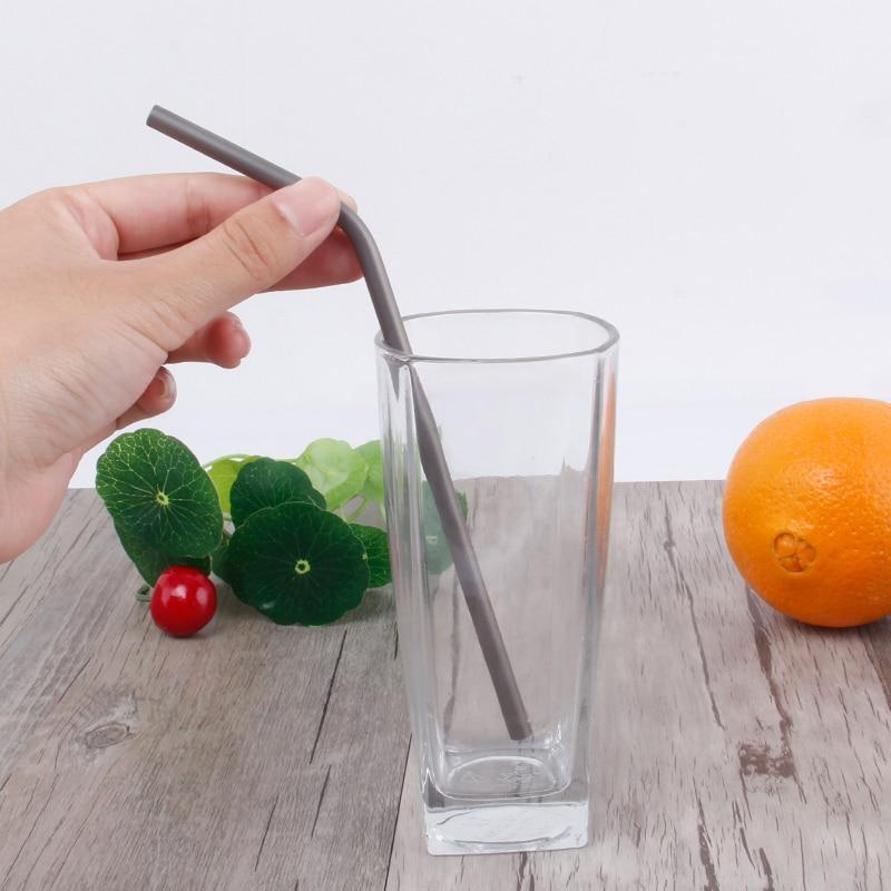 Lightweight Durable Healthy Titanium Drinking Straw Straight//Bent Brush