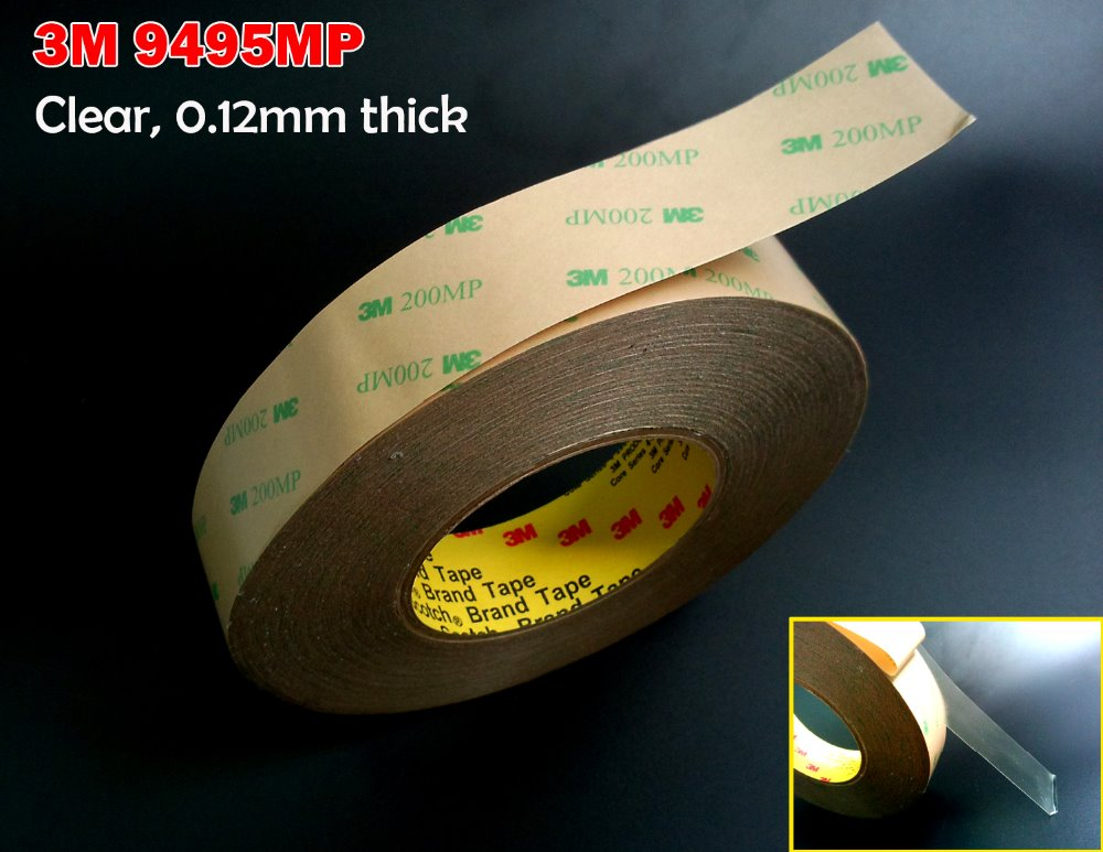 3mm~5mm~10mm~20mm~30mm~50mm Choose, 3M 9495MP Double Sided Adhesive Tape for Gasket and Lens ,Thermal and Sound Damping