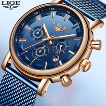 LIGE Fashion Mens Watches Top Brand Luxury Big Dial Military Quartz Watch Black Leather Waterproof Sport Chronograph Watch Men grady new arrival big round dial black ceramic watches men luxury brand 3atm waterproof sports quartz watch free shipping
