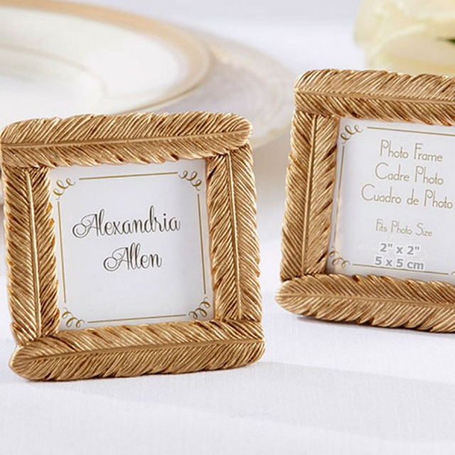 50pcs/Lot Gold Resin Feather Photo Frame Baby Shower Favors And ...