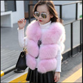 Fashion Children Real Fox Fur Vest 2016 Autumn Winter Warm Baby Waistcoats Short Thick Vests Outerwear kidsVest Waistcoats MHV10