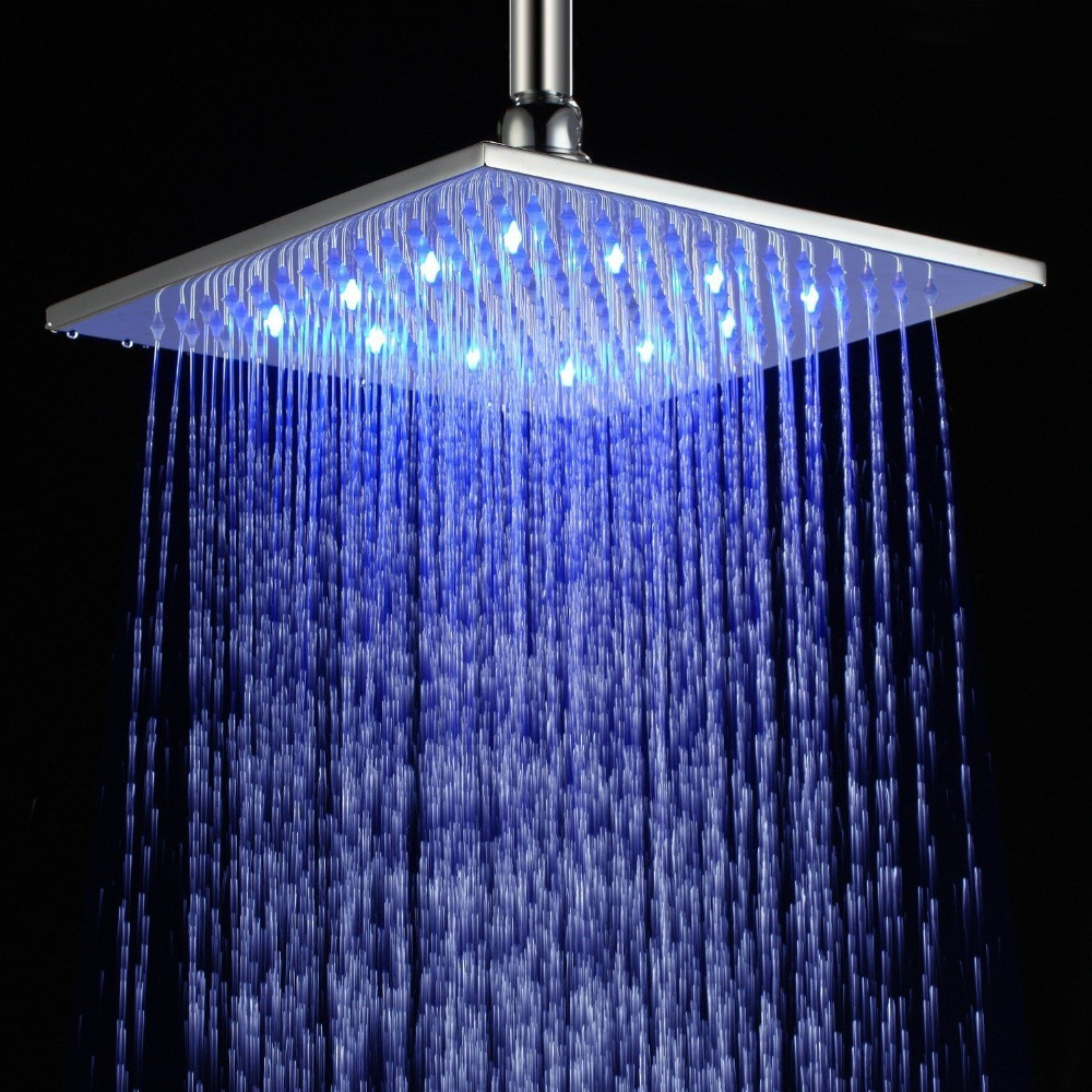 10 Inch 25X25 CM Ceiling Mounted Spray Polished Chrome Brass LED ...