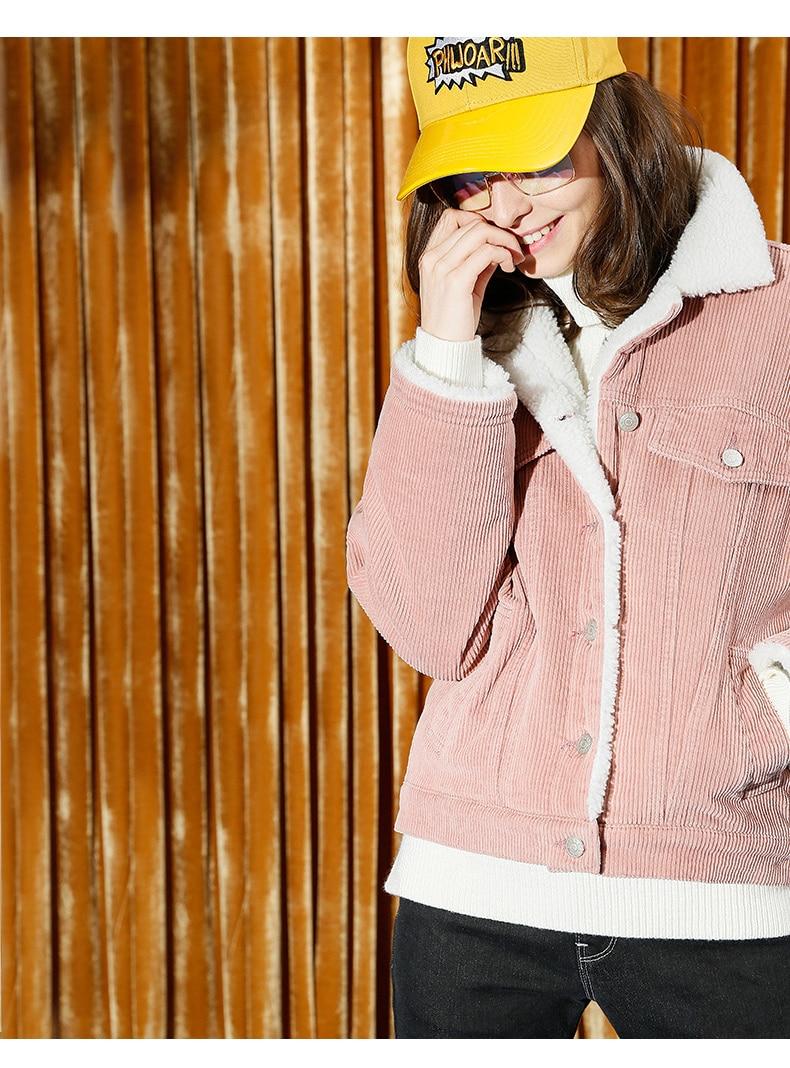 Toyouth Autumn Winter Corduroy Basic Jacket Lambswool Bomber Jacket Women Long Sleeve Jacket Casual Single Breasted Denim Jacket 14