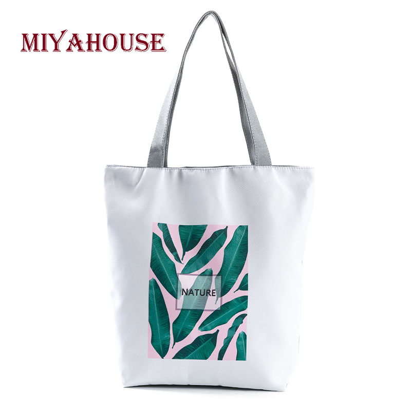 New Arrival Women Leaves Beach Bags Summer Style Female Canvas Tote Bag Fashion Ladies Single Shoulder Shopping Bag