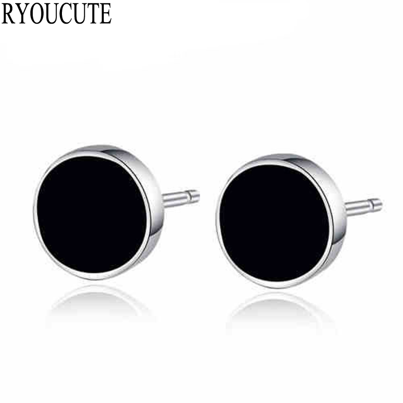 Fashion Silver Color Black Round Earrings For Women Brincos Pendientes Wedding Jewelry