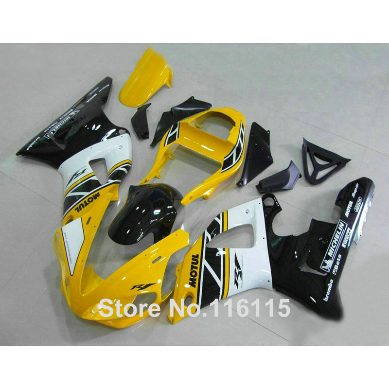 Injection molding New ABS Fairing kit fit for YAMAHA YZF R1 2000 2001 yellow white black YZF-R1 00 01 plastic fairings set G1L9 hot sales yzf600 r6 08 14 set for yamaha r6 fairing kit 2008 2014 red and white bodywork fairings injection molding
