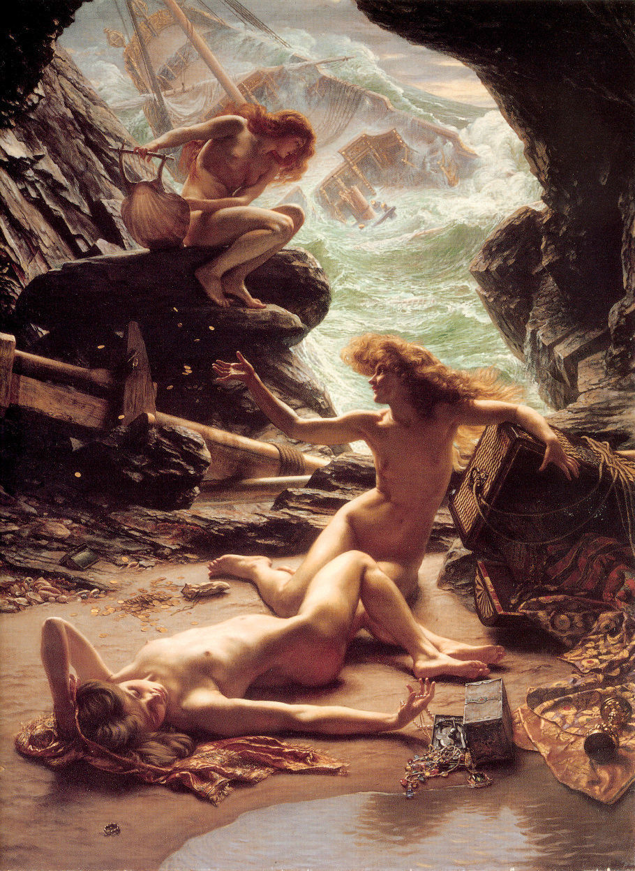 Naked young girls nymph Storm shelter in caves canvas Oil Edward John Poynter