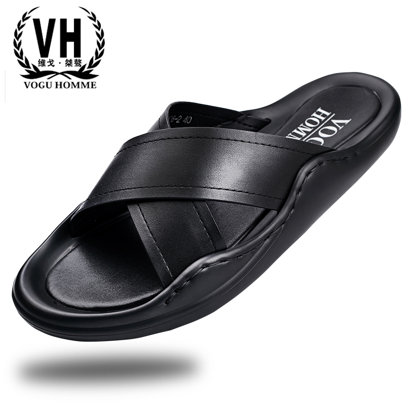 genuine leather casual sandals Sneakers Men Slippers Flip Flops Summer beach outdoor all-match cowhide Leisure men's shoes summer men s slippers leather breathable doug british leisure sandals lazy sneakers men flip flops casual shoes beach outdoor