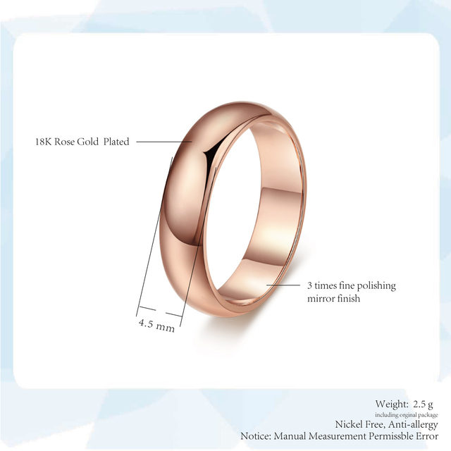 Couple Rings For Man Woman Simple Metal Rose Gold Color Wedding Engagement Dating Gifts Fashion Jewelry Wholesale All Size R049 6