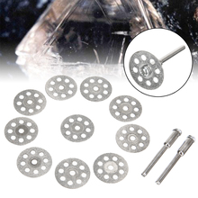 10pc 20mm Diamond Cutting Disc Carbon Steel Saw Blade For Rotary Tools Accessories with 2X Mandrel Connecting Rod Set
