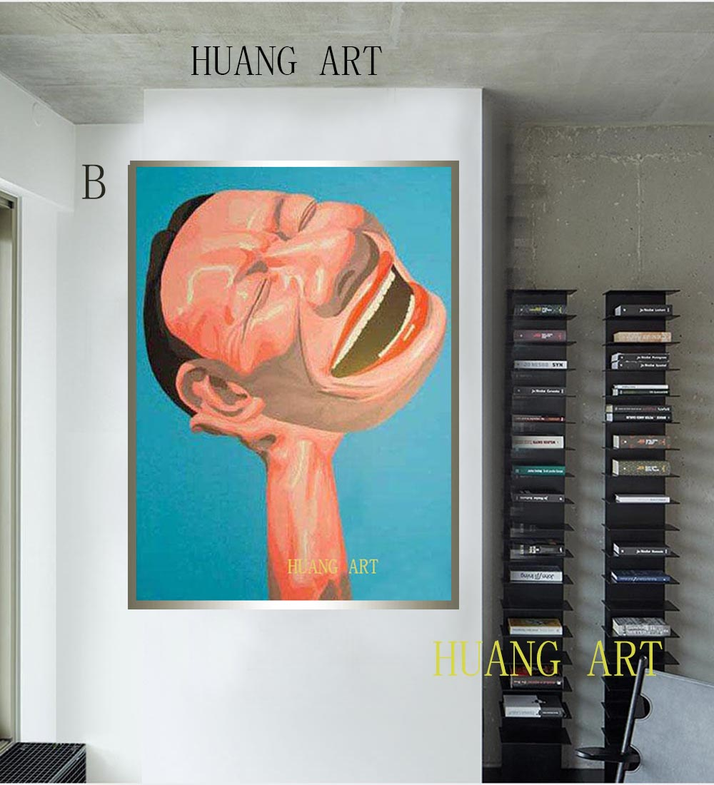 Famous artist personal yue minjun handmade oil painting on the canvas big mouth very decorative modern unique gift ideas in Painting Calligraphy from Home Garden
