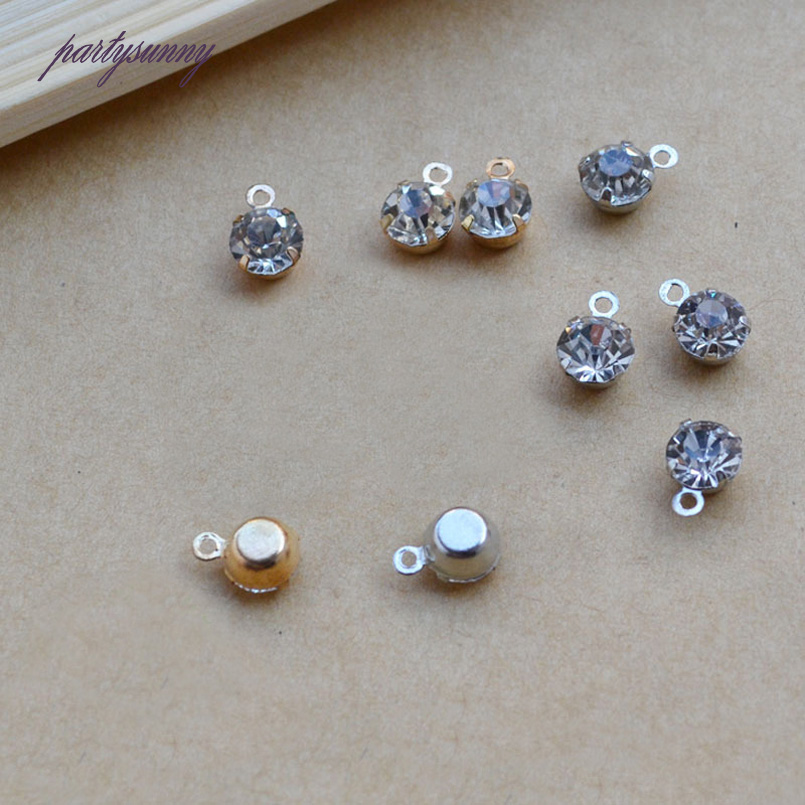 PF 6mm 100pcs/lot Crystal Pendant Cabochon Embellishment Handmade Jewelry Findings Necklace Components Cameo Accessories TZ040