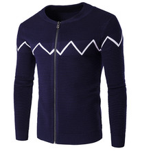 2016 Fashion Autumn Mens Sweaters Male O-neck Cardigan Man's Stripe Knitwear Slim Fit Zipper Brand Clothing Sweater Coats Men
