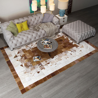 American Style Luxury Natural Brown Cowhide Patchwork Rug , Big Size Milch Cow Skin Fur Chequer Carpet for Living Room