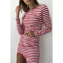 Spring Autumn Casual Striped Bodycon Dress 2018 Sexy Hollow Out Backless Party Dress Female High Street Red Black WS9908t