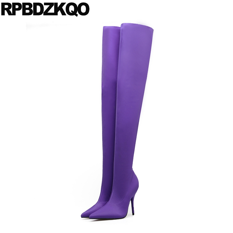 High Heel Purple Long Fetish Candy Stretch Designer Shoes Women Luxury 2017 Stiletto Thigh Sexy Sock Pointy Over The Knee Boots knsvvli over knee boots woman mixed color belt buckle stretch knit sock long boots sexy pointy toe stiletto heel thigh high boot