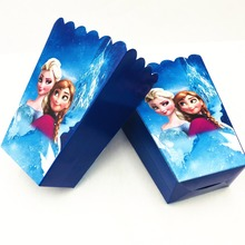 6pcs/set DISNEY Frozen Anna And Elsa Princess Party Supplies Popcorn Box Birthday Accessory Decoration Kids Girls