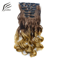 jeedou Synthetic Wavy Hair Clip In Hair Extensions 6Pcs/set 20 50cm 140g Pink Rainbow Ombre Color Balayage Natural Hairpieces