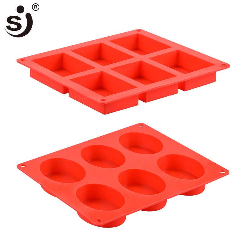 SJ 2 шт. 3d 6 отверстий силиконовая форма для мыла прямоугольная круглая формочка для мыла форма для выпечки лоток для домашнего изготовления мыла